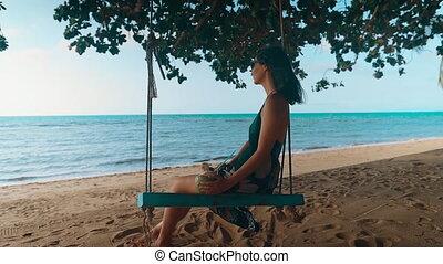 morze, beztroski, kobieta, huśtać się, rozluźnić, tropikalny...