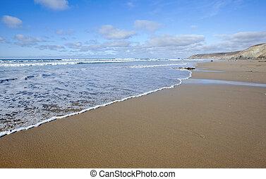 morze, cornwall, brzeg, porthtowan, uk, plaża
