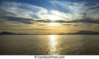 morze, eskapada, scena, plaża, ocean, zachód słońca, krajobraz.
