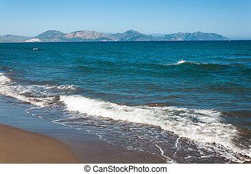 morze, krajobraz, fale