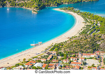morze, laguna, plaża, krajobraz, oludeniz, prospekt
