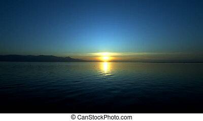 morze, marzycielski, zachód słońca
