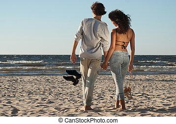 morze, para, młody, pogoda, tło, cieszący się, zachód słońca