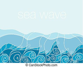 morze, pattern., ocean polewają, wektor, illustration., blu,...