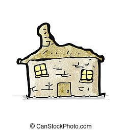 morzsolódó, épület, öreg, karikatúra