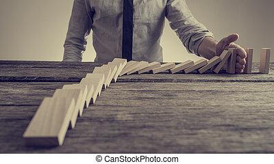 morzsolódó, preventing, pálma, dominó, üzletember