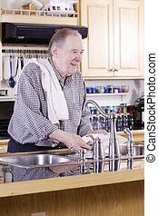 mosás, öregedő, edények, ember