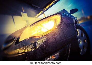 mosás, autó, closeup