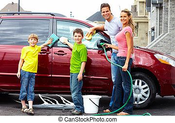 mosás, autó., család, boldog