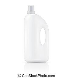 mosópor, fehér, mosoda, folyékony, bottle.