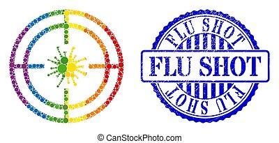 mosaïque, arc-en-ciel, cercles, virus, icône, grippe, cible, coup, détresse, timbre
