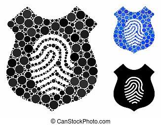 mosaïque, bouclier, icône, empreinte doigt, cercles