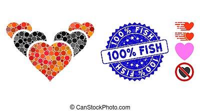 mosaïque, cœurs, fish, grunge, 100%, icône, timbre, amour