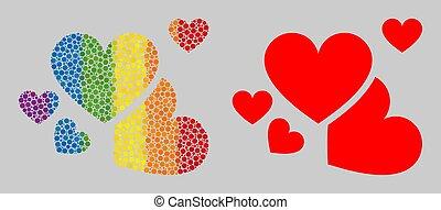 mosaïque, cœurs, points, spheric, icône, amour, spectre