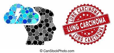 mosaïque, cachet, détresse, carcinome, poumon,...