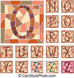 mosaïque, capital, lettres, alphabet.