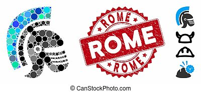 mosaïque, casque, gratté, icône, cachet, rome