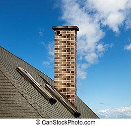mosaïque, cheminée, toit