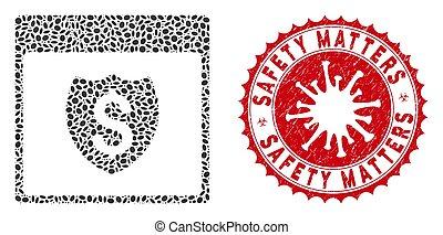 mosaïque, coronavirus, bouclier, page financière, compter, cachet, sécurité, calendrier, détresse, icône