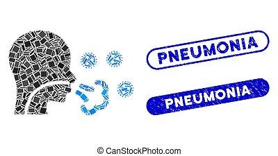 mosaïque, coronavirus, cachet, patient, grunge, virus, pneumonia, icône