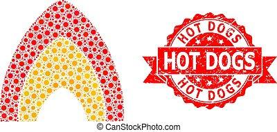 mosaïque, coronavirus, détresse, flamme, chaud, timbre, brûler, chiens