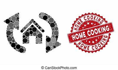 mosaïque, cuisine, cachet, textured, mise jour, chambre maison