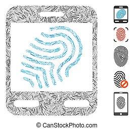 mosaïque, empreinte doigt, ligne, scanner