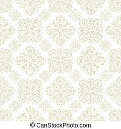 mosaïque florale, papier peint, beige