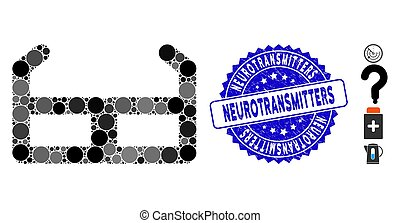 mosaïque, grunge, neurotransmitters, icône, timbre, lunettes