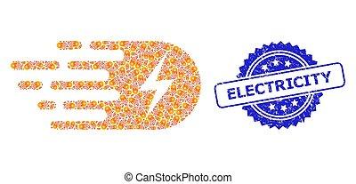 mosaïque, icône, cachet, timbre, recursion, détresse, électricité