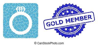 mosaïque, icône, détresse, membre, timbre, fractal, or, gemme, anneau