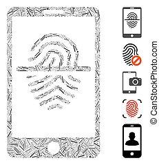 mosaïque, icône, smartphone, empreinte doigt, trappe, ...