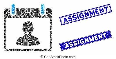 mosaïque, jour, calendrier, directeur, appeler, timbres, centre, rectangle, gratté