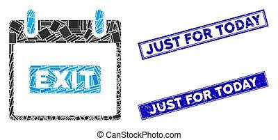 mosaïque, juste, rectangle, aujourd'hui, gratté, timbres, jour, sous-titre, sortie, calendrier