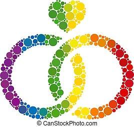 mosaïque, mariage, spectre, anneaux, icône, points, spheric