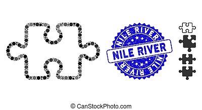 mosaïque, nil, icône, coup, article, grunge, puzzle, cachet, rivière