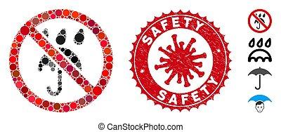 mosaïque, non, parapluie, coronavirus, pluie, timbre, sécurité, détresse, icône