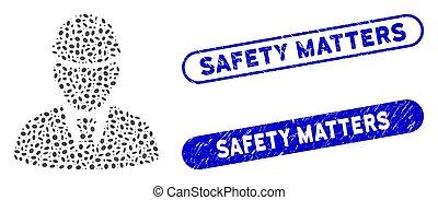 mosaïque, ovale, ingénieur, compter, sécurité, grunge, cachets