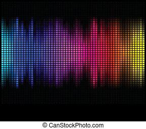 mosaïque, pixel, carrée, résumé, lumières, disco, multicolore, arrière-plan.