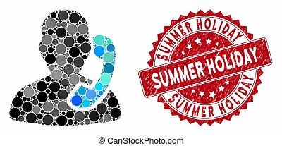 mosaïque, réception, été, timbre, vacances, grunge