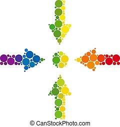 mosaïque, réunion, spectre, point, icône, points, spheric