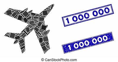 mosaïque, rectangle, cachets, avion, détresse, 000, 1