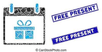 mosaïque, rectangle, cachets, gratté, cadeau, présent, jour, gratuite, calendrier, boîte