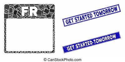 mosaïque, rectangle, started, obtenir, timbres, page, demain, calendrier, détresse, vendredi