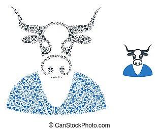 mosaïque, soi, vache, garçon, articles, fractal