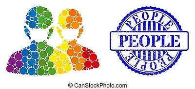 mosaïque, spectre, masques, points, gens, spheric, icône, cachet, détresse