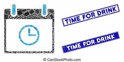 mosaïque, temps, timbre, rectangle, cachets, gratté, jour, boisson, calendrier