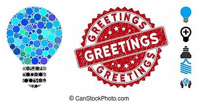 mosaïque, timbre, ampoule, salutations, icône, détresse