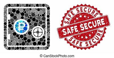 mosaïque, timbre, assurer, gratté, sûr, banque, rouble