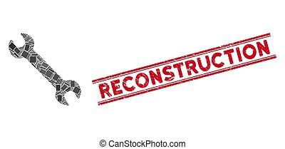 mosaïque, timbre, clé, reconstruction, cachet, grunge, lignes